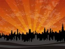 Paisaje urbano de la puesta del sol Fotos de archivo