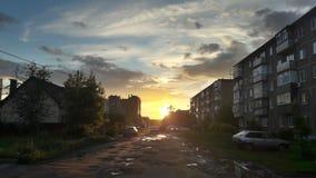 Paisaje urbano de la puesta del sol Fotografía de archivo