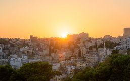 Paisaje urbano de la puesta del sol de Amman Jordan Middle East fotografía de archivo libre de regalías