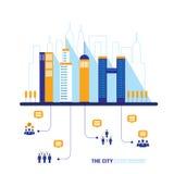 Paisaje urbano de la red social de la ciudad llenado de Fotografía de archivo libre de regalías