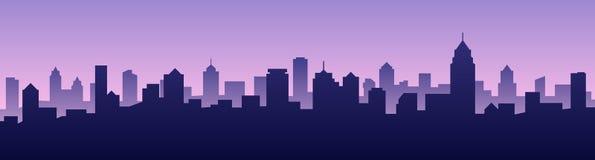 Paisaje urbano de la silueta del horizonte de la ciudad del fondo del ejemplo del vector ilustración del vector