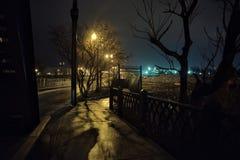 Paisaje urbano de la tierra de la fábrica de acero en la noche fotos de archivo