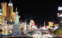Paisaje urbano de Las Vegas en la noche Foto de archivo libre de regalías