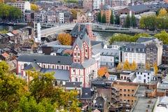 Paisaje urbano de Lieja, Bélgica Fotos de archivo libres de regalías