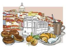 Paisaje urbano de Lisboa y sistema panorámicos de la cafetería stock de ilustración