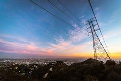 Paisaje urbano de Los Ángeles en la puesta del sol Foto de archivo