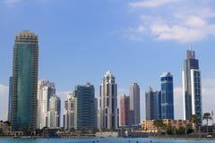 Paisaje urbano de los rascacielos de Dubai Imagen de archivo libre de regalías
