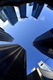 Paisaje urbano de los rascacielos de los edificios de la ciudad Fotos de archivo libres de regalías