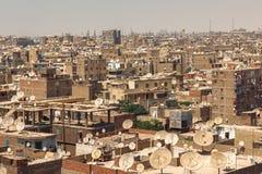 Paisaje urbano de los tugurios de El Cairo del top fotos de archivo libres de regalías