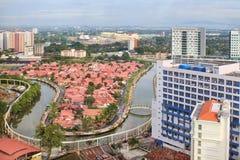 Paisaje urbano de Malacca con el río de Melaka Foto de archivo libre de regalías