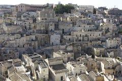Paisaje urbano de Matera, ciudad medieval del distrito histórico del sassi Foto de archivo