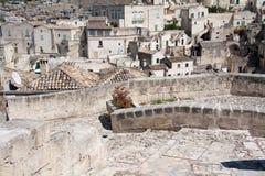 Paisaje urbano de Matera de los di de Sassi Imágenes de archivo libres de regalías