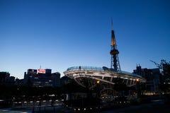 Paisaje urbano de Nagoya en la noche en Japón Imagen de archivo libre de regalías