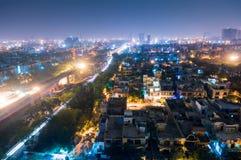 Paisaje urbano de Noida en la noche Fotografía de archivo libre de regalías