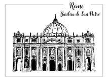 Paisaje urbano de Roma con St Peter Cathedral Horizonte famoso de la señal de la ciudad italiana Grabado de Italia del viaje roma ilustración del vector