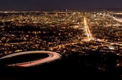 Paisaje urbano de San Francisco en la noche Foto de archivo