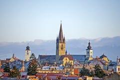 Paisaje urbano de Sibiu Foto de archivo libre de regalías