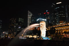 Paisaje urbano de Singapur Merlion Fotografía de archivo