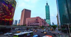 Paisaje urbano de Taipei en el crepúsculo en la ciudad de Taiwán almacen de metraje de vídeo