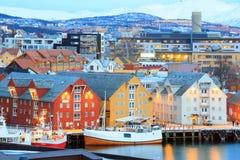 Paisaje urbano de Tromso Fotos de archivo libres de regalías
