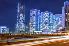 Paisaje urbano de Yokohama en la noche Imagen de archivo libre de regalías