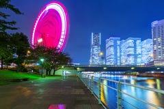 Paisaje urbano de Yokohama en la noche Fotos de archivo libres de regalías