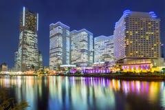 Paisaje urbano de Yokohama en la noche Imágenes de archivo libres de regalías