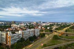 Paisaje urbano de Zagreb en la puesta del sol Foto de archivo