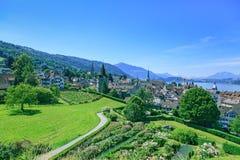 Paisaje urbano de Zug Fotos de archivo