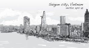 Paisaje urbano del bosquejo del cielo de la demostración de Ho Chi Mihn Vietnam de la ciudad de Saigon libre illustration