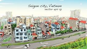 Paisaje urbano del bosquejo del cielo de la demostración de Ho Chi Mihn Vietnam de la ciudad de Saigon ilustración del vector
