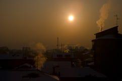 Paisaje urbano del calentamiento del planeta Fotografía de archivo