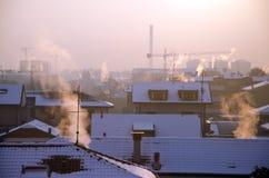 Paisaje urbano del calentamiento del planeta Fotos de archivo libres de regalías