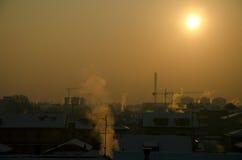 Paisaje urbano del calentamiento del planeta Imagen de archivo