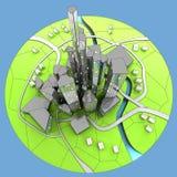 Paisaje urbano del desarrollo sostenible de la isla de la ciudad Foto de archivo