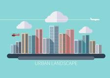 Paisaje urbano del diseño plano Foto de archivo