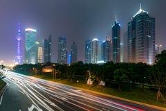 Paisaje urbano del horizonte de Shangai, vista de Shangai en las finanzas de Lujiazui Fotografía de archivo