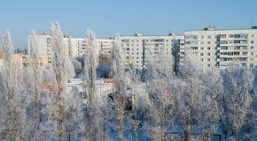 Paisaje urbano del invierno Imagenes de archivo