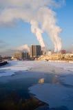 Paisaje urbano del invierno Imagen de archivo libre de regalías