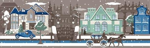 Paisaje urbano del invierno Foto de archivo libre de regalías