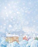 Paisaje urbano del invierno del vector Imagen de archivo