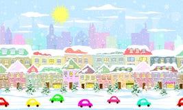 Paisaje urbano del invierno, inconsútil ilustración del vector