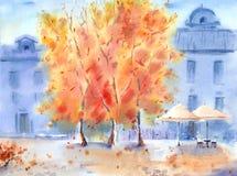 Paisaje urbano del otoño de la acuarela Imagen de archivo libre de regalías
