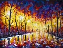 Paisaje urbano del parque de la tarde de la pintura, reflexión hermosa en el asfalto mojado ilustración del vector