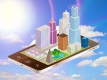 Paisaje urbano del teléfono y del cielo Imagen de archivo libre de regalías