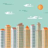 Paisaje urbano - edificios abstractos - ejemplo del concepto del vector en estilo plano del diseño Ejemplo plano de las propiedad Fotos de archivo