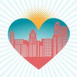 Paisaje urbano en corazón Imagen de archivo libre de regalías