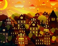 Paisaje urbano en el claro de luna ilustración del vector