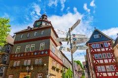 Paisaje urbano en el cuadrado de ciudad en Herborn, Alemania Fotografía de archivo libre de regalías