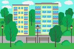 Paisaje urbano en el diseño plano, ejemplo Construcciones de viviendas de varios pisos, árboles, bancos, luces, acera Todo el iso ilustración del vector